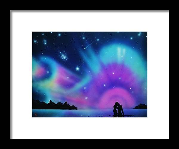 Aurora Borealis Framed Print featuring the painting Love by the Aurora Borealis by Thomas Kolendra