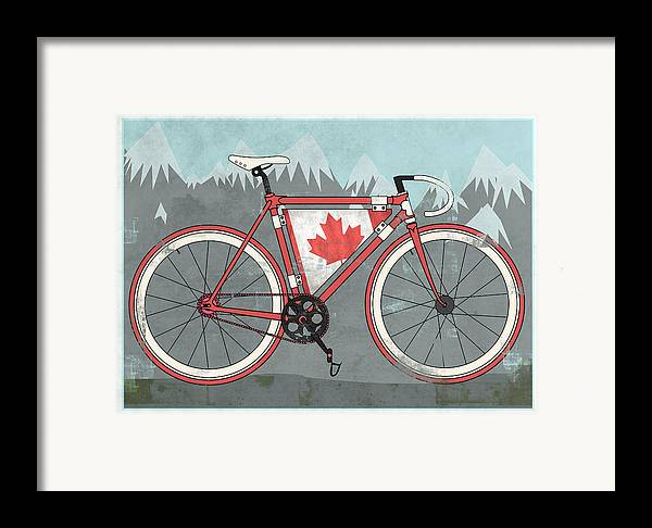 Canada Framed Print featuring the digital art Love Canada Bike by Andy Scullion