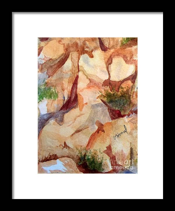 Heart Framed Print featuring the painting Love In The Rocks Medjugorje 2 by Vicki Housel
