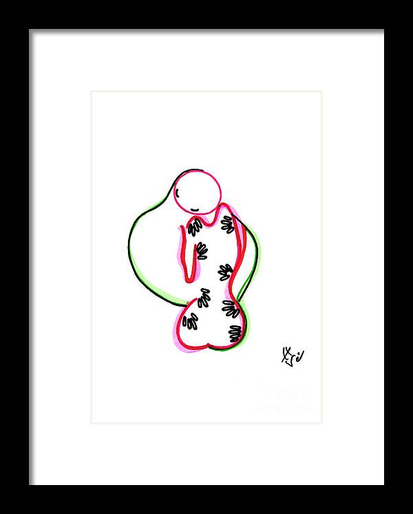 Framed Print featuring the drawing Love Is by Ingrid Barlebo-Larsen