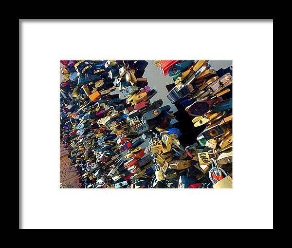 Color Framed Print featuring the photograph Love Locks Of Prague by Hannah Rose