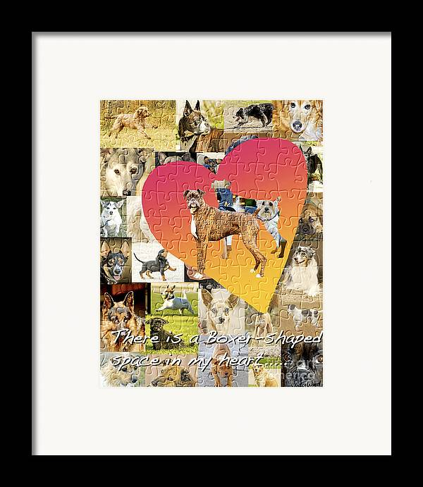 Boxer Dog Framed Print featuring the digital art Love Of Boxers by Judy Wood
