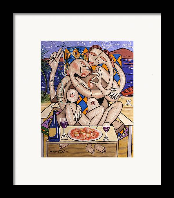 Love On A Deserted Island Shrimp Scallops And Linguine Framed Print featuring the painting Love On A Deserted Island Shrimp Scallops And Linguine by Anthony Falbo