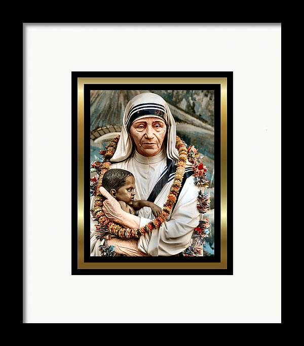 Mother Teresa Art Prints Framed Print featuring the painting Love To The Rescue 2 by Karen Showell
