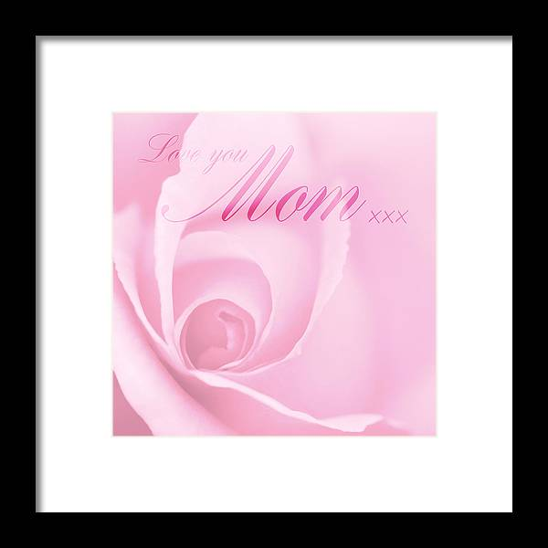 Love You Mom Framed Print featuring the photograph Love You Mom Pink Rose by Natalie Kinnear