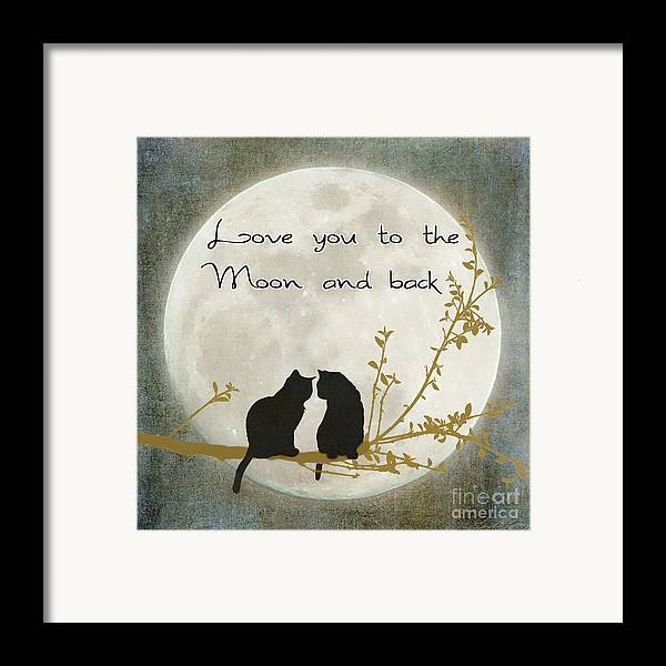 Moon Framed Print featuring the digital art Love You To The Moon And Back by Linda Lees