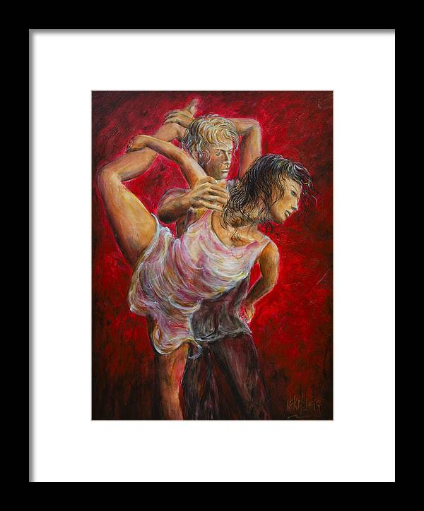 Tango Framed Print featuring the painting Lovers Red 04 by Nik Helbig