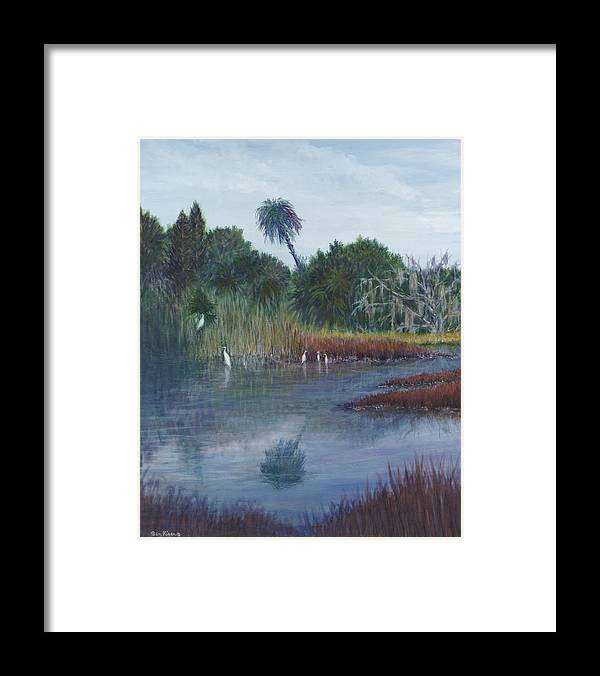 Landscape Framed Print featuring the painting Low Country Social by Ben Kiger