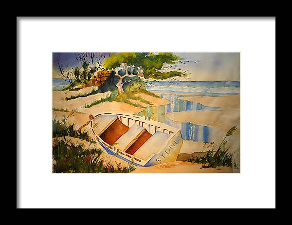 Landscape Framed Print featuring the painting Low Tide by Sandra Stone