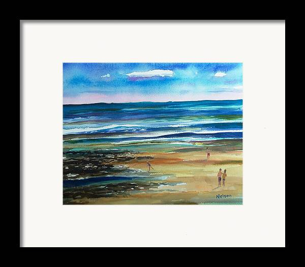 Low Tide Framed Print featuring the painting Low Tide Wells Beach Maine by Scott Nelson