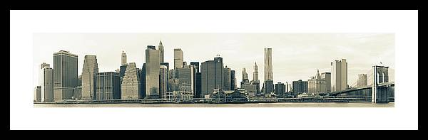 Corporate Business Framed Print featuring the photograph Lower Manhattan Skyline Panorama by 77studio