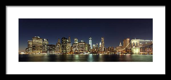 Blue Framed Print featuring the photograph Lower Manhatten Pano by Wolfgang Woerndl