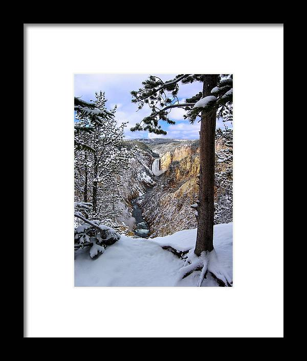 Waterfall Framed Print featuring the photograph Lower Yellowstone Falls In October by Robert Woodward