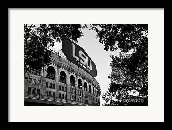 Lsu Framed Print featuring the photograph Lsu Through The Oaks by Scott Pellegrin