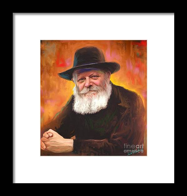 Lubavitcher Rebbe Framed Print featuring the painting Lubavitcher Rebbe by Sam Shacked