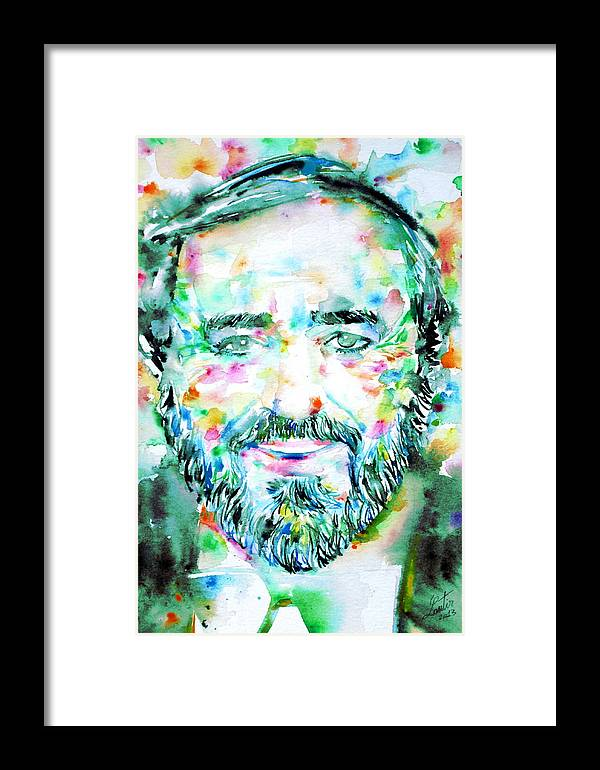 Luciano Pavarotti Framed Print featuring the painting Luciano Pavarotti - Watercolor Portrait by Fabrizio Cassetta