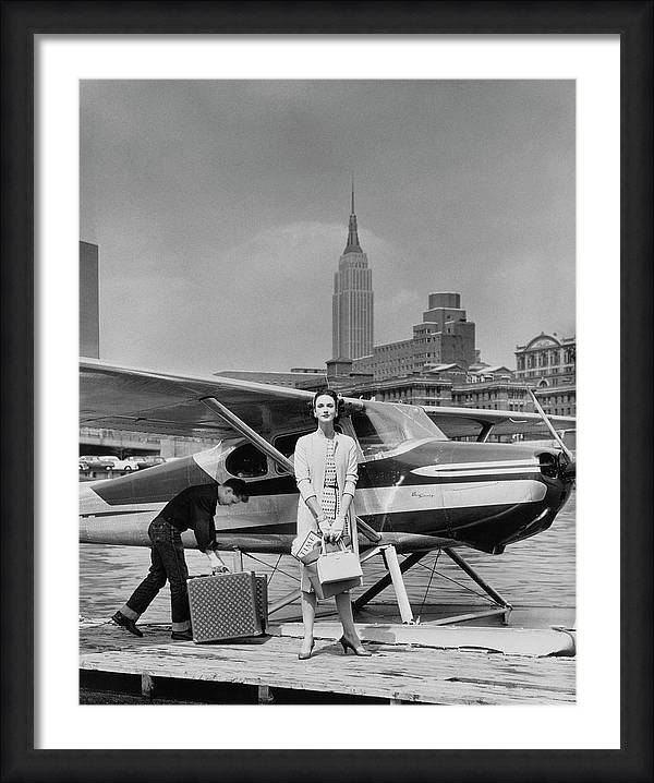 Lucille Cahart With Small Plane in NYC by John Rawlings