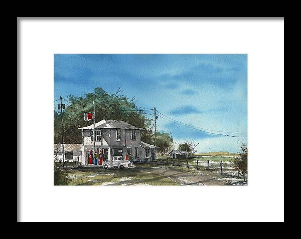 Lucille's Gas Station Framed Print featuring the painting Lucille's On Route 66 by Tim Oliver