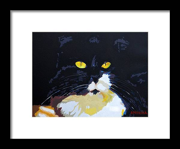 Black Cat Framed Print featuring the painting Lucy by Donald Amorosa