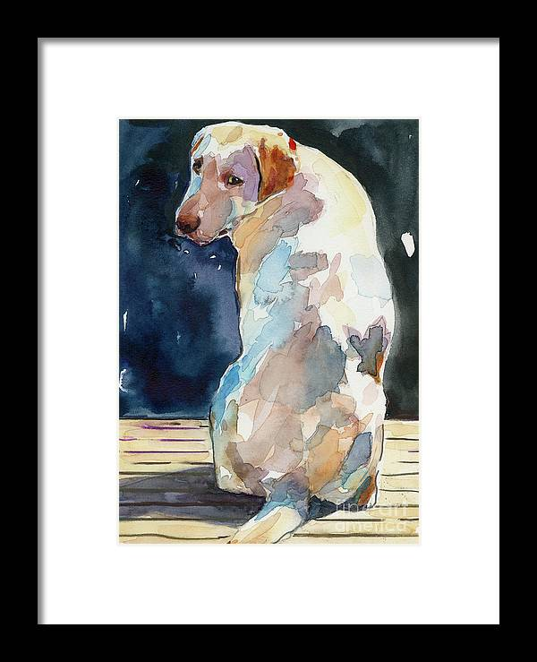 Labrador Retriever Framed Print featuring the painting Lucy Moon by Molly Poole