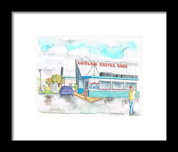 Ludlow Coffee Shop Framed Print featuring the painting Ludlow Coffee Shop In Ludlow - California by Carlos G Groppa