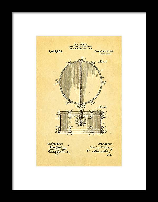Famous Framed Print featuring the photograph Ludwig Snare Drum Patent Art 1912 by Ian Monk