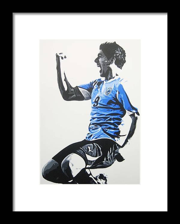 Luis Suarez Framed Print featuring the painting Luis Suarez - Uraguay by Geo Thomson
