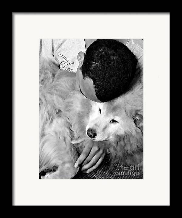 Luke And Little Bear Framed Print featuring the photograph Luke And Little Bear by Sarah Loft