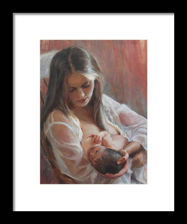Figure Painting Framed Print featuring the painting Lullaby by Anna Bain