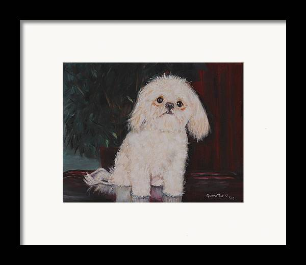 Dog Framed Print featuring the painting Lulu by Quwatha Valentine