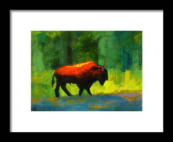 Abstract Framed Print featuring the painting Lumbering by Nancy Merkle