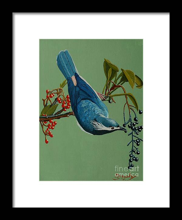 Bird Framed Print featuring the painting Lunch Time For Blue Bird by Anthony Dunphy
