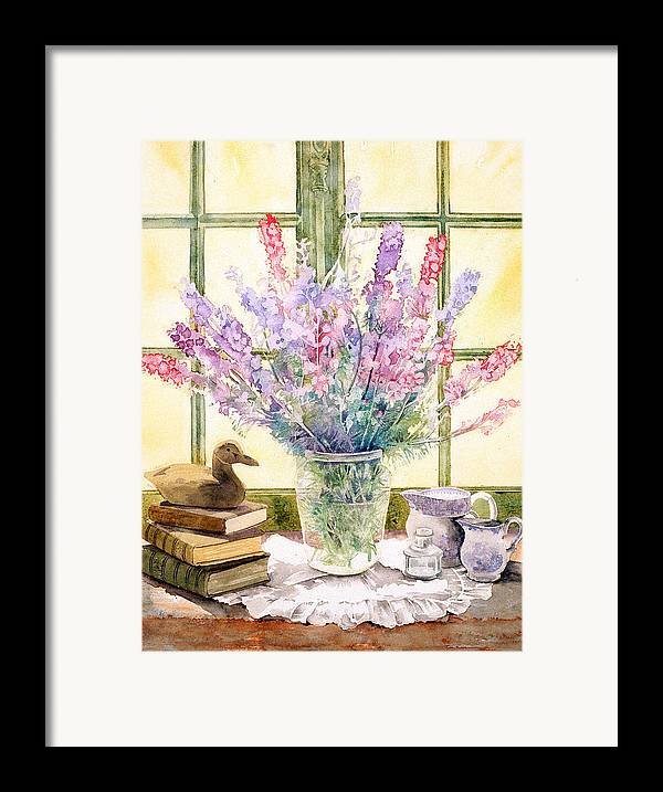 Book Framed Print featuring the photograph Lupins On Windowsill by Julia Rowntree