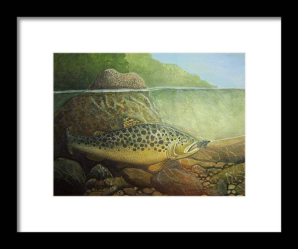 Rick Huotari Framed Print featuring the painting Lurking by Rick Huotari