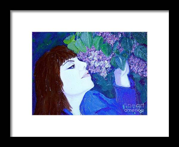Lilacs Framed Print featuring the painting Lush Lilacs by Laurie Morgan