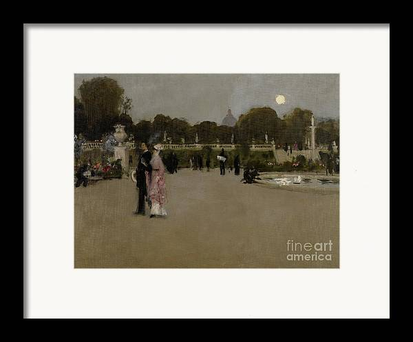 Luxembourg; Paris; Parisian; France; French; Europe; European; Garden; Gardens; Park; Parks; Twilight; Evening; Dusk; Figures; Couple; Arm In Arm; Date Framed Print featuring the painting Luxembourg Gardens At Twilight by John Singer Sargent