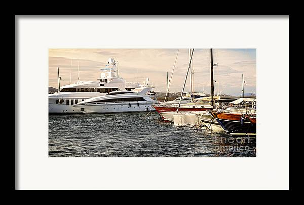 Yacht Framed Print featuring the photograph Luxury Boats At St.tropez by Elena Elisseeva