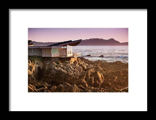Water's Edge Framed Print featuring the photograph Luxury Home Overlooks The Big Sur by Pgiam