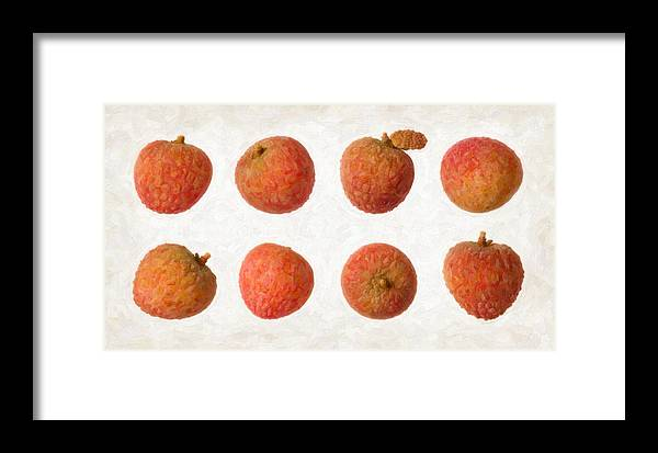 Red Framed Print featuring the painting Lychee by Danny Smythe