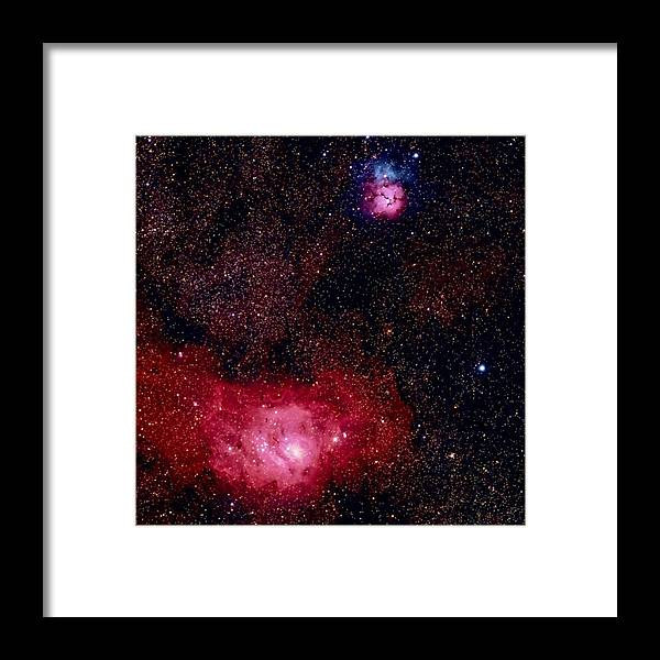 New Mexico Framed Print featuring the photograph M8 The Lagoon Nebula And M20 The Trifid by A. V. Ley