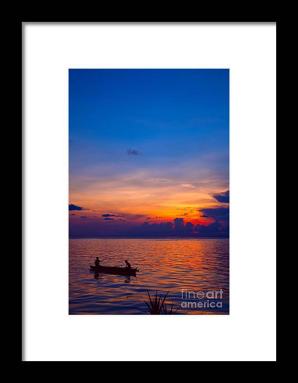 Malaysia Framed Print featuring the photograph Mabul Island Sunset Borneo Malaysia by Fototrav Print
