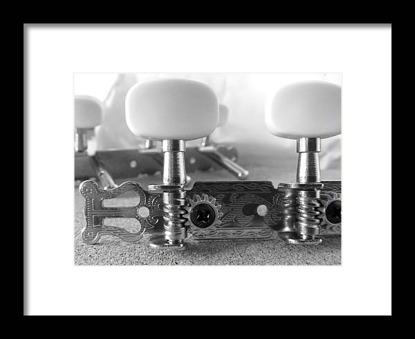 Headstock Framed Print featuring the photograph Machine Head In Black And White by Abbie Shores