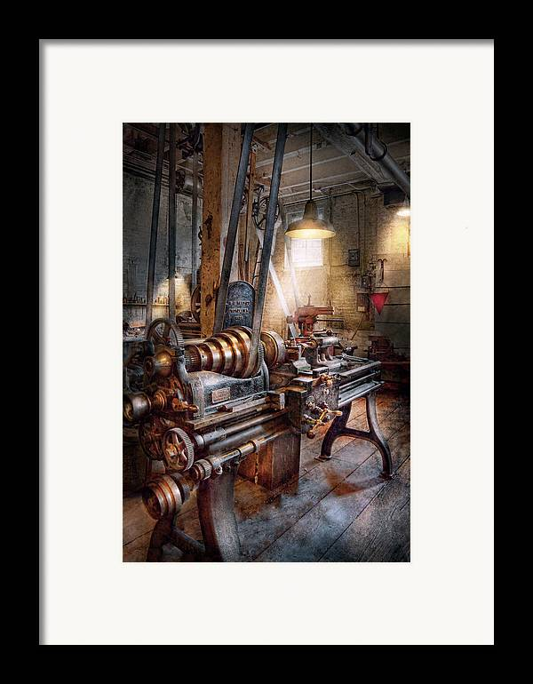 Machinists Framed Print featuring the photograph Machinist - Fire Department Lathe by Mike Savad