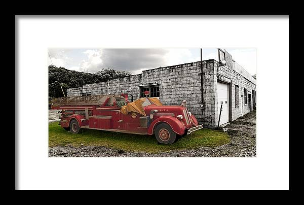 Framed Print featuring the photograph Mack Firetruck by Chris Babcock