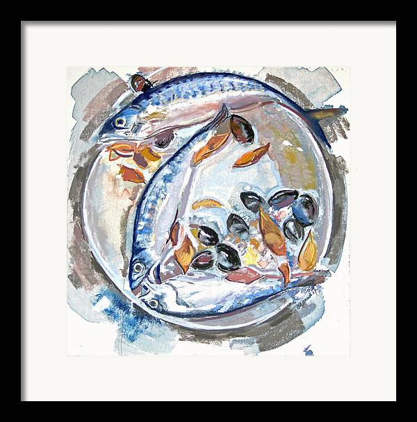 Still Life Framed Print featuring the pastel Mackerel Mussels Leaves by Grace Keown