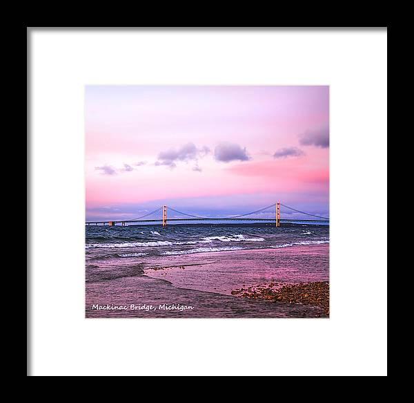 Mackinac Framed Print featuring the photograph Mackinac Bridge At Sunset by LeeAnn McLaneGoetz McLaneGoetzStudioLLCcom