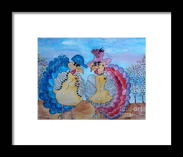 Turkey's Framed Print featuring the painting Macy Meets Mason by Bonnie Wright