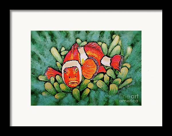 Fish Framed Print featuring the painting Mad Clown by Linda Simon