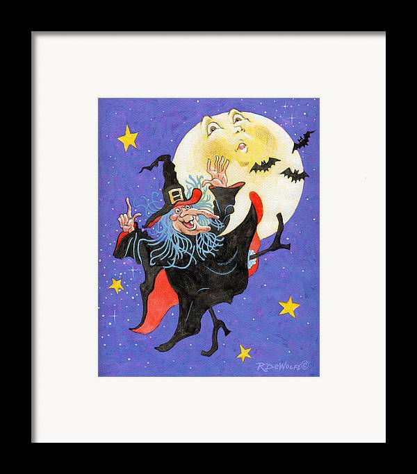 Halloween Framed Print featuring the painting Mad Millie Moon Dance by Richard De Wolfe