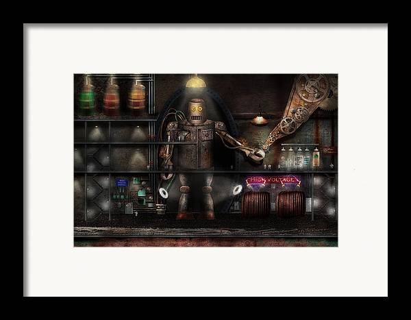 Robot Framed Print featuring the photograph Mad Scientist - The Enforcer by Mike Savad
